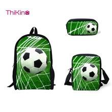 Thikin 3 Pcs/set Children School Bags 3D Ice Soccerly/Foot Ball Pattern Backpack for Teen Boys Girls Kids Book