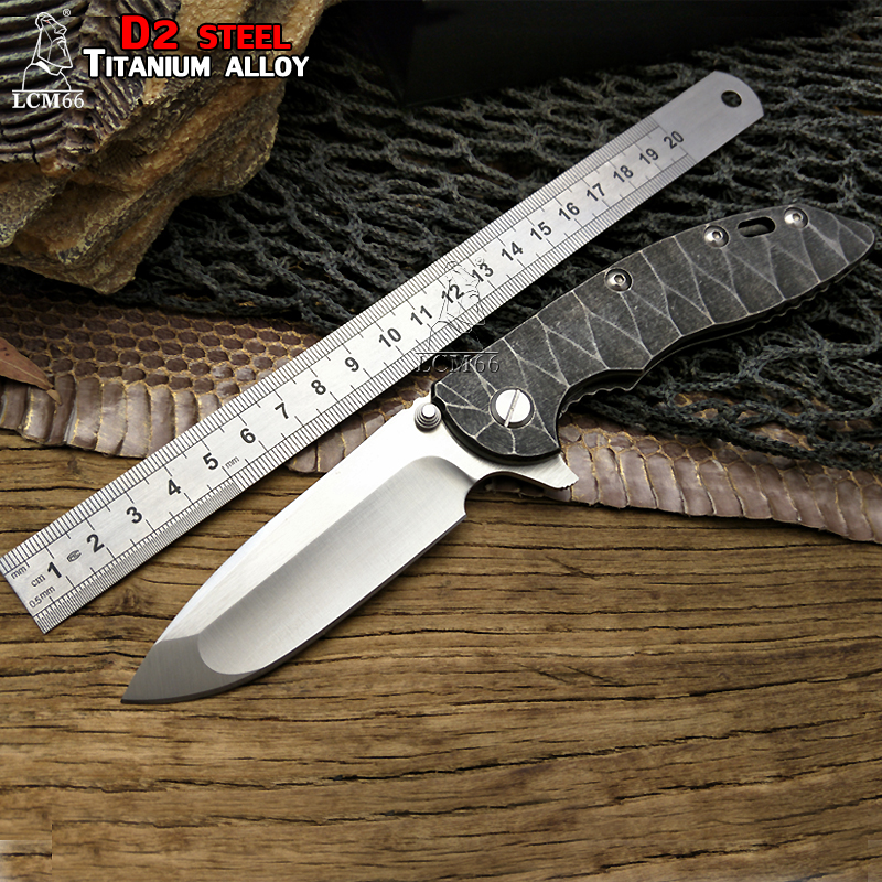 LCM66 XM 18 tactical folding knife Custom made D2 Blade Titanium Alloy Handle Folding Knife Outdoor