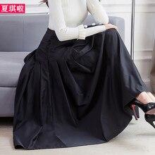 Новинка, модная длинная винтажная плиссированная трапециевидная юбка макси с завышенной талией, женские S-2XL джинсы, четыре сезона, юбки с карманами