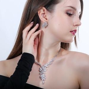 Image 2 - Cwwzirconsブランドキュービックジルコニアウェディングジュエリーアクセサリーブライダルラインストーンのネックレスとイヤリングのセット花嫁T142
