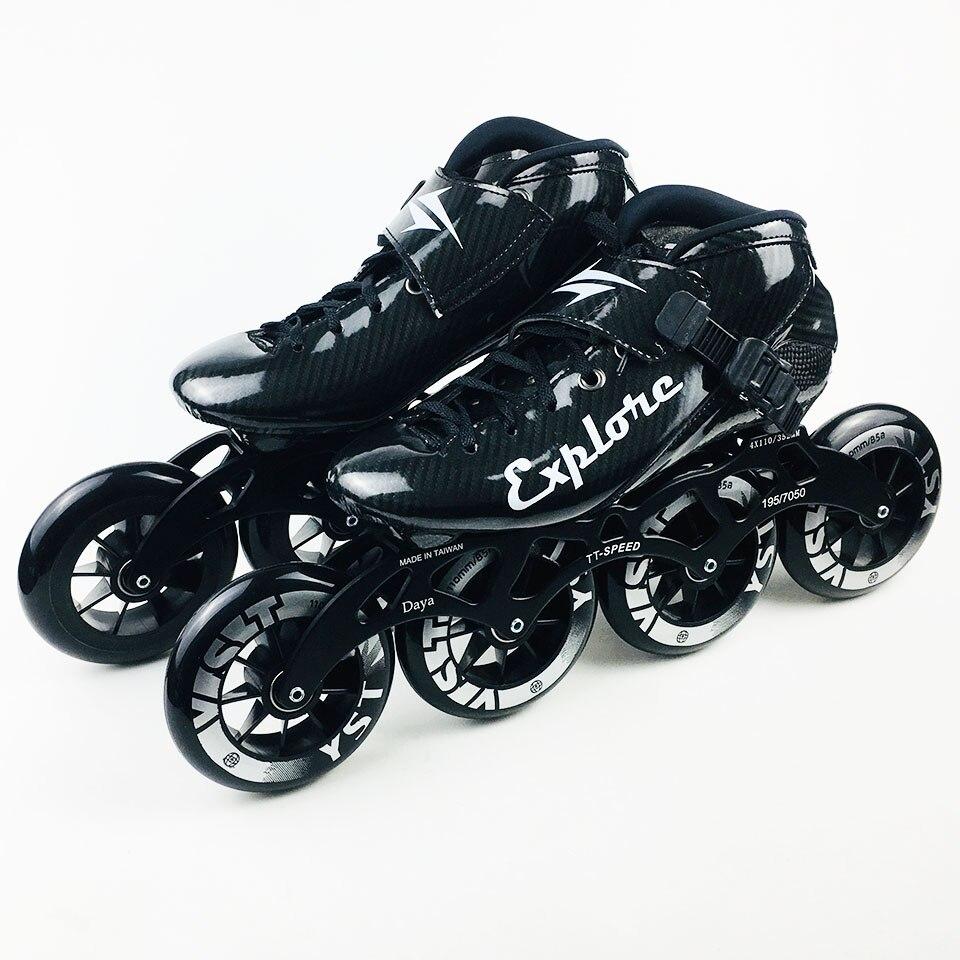 Intéressant! Patins de vitesse en fibre de verre carbone enfant adulte débutant nouvelle main vitesse course Train chaussures de course de rue JP corée pour MPC
