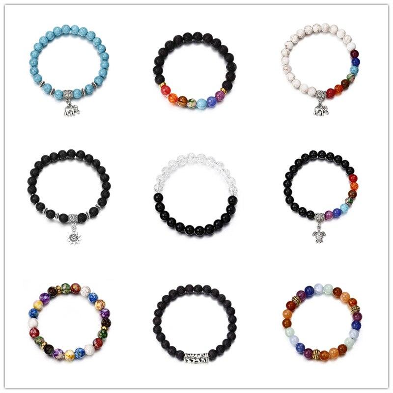 1 Stks Populaire Koop Elephant Zon Hanger Unisex Kralen Armband Elastische Armband Mode-sieraden Cadeau Nieuwe A53