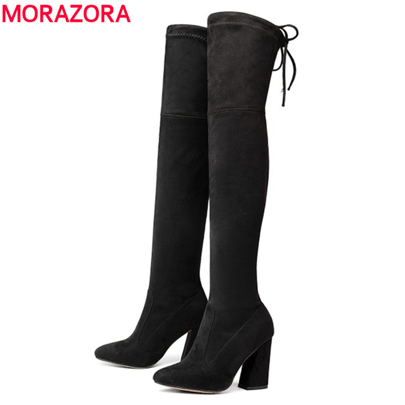MORAZORA Russia women boots Faux Suede stretch woman over the knee boots fashion sexy autumn winter high heels thigh high bootsMORAZORA Russia women boots Faux Suede stretch woman over the knee boots fashion sexy autumn winter high heels thigh high boots