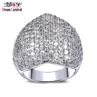 DreamCarnival 1989 Love Heart Wedding Party Rings For Women Jewelry Clear White Synthetic CZ Rhodium Gold