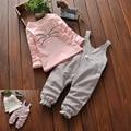 Niño Del Bebé de Algodón de Primavera Ropa Fijada, raya Patrón de Dibujos Animados T-shirt + Pants, Bebé de la manera Traje Ropa de bebé
