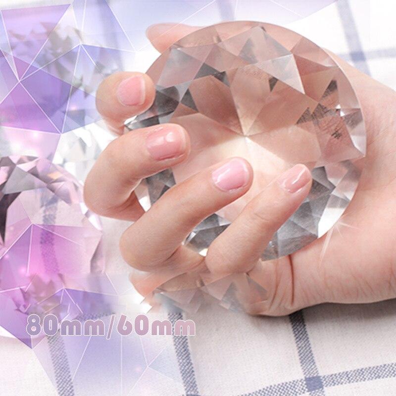 Nail Art Display 60mm 80mm Transparent Glass Crystal Diamond Hand Model Shoot Ornament Jewelry Manicure Accessory Pro Tool New