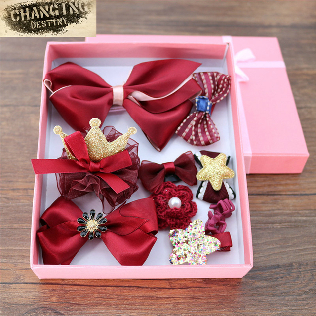 10 Pieces Headdres of Box Gift Hairpins High-end Fine Safety Package Cloth Clip Hair Clip Lovely Bow-knot Girl Headwear