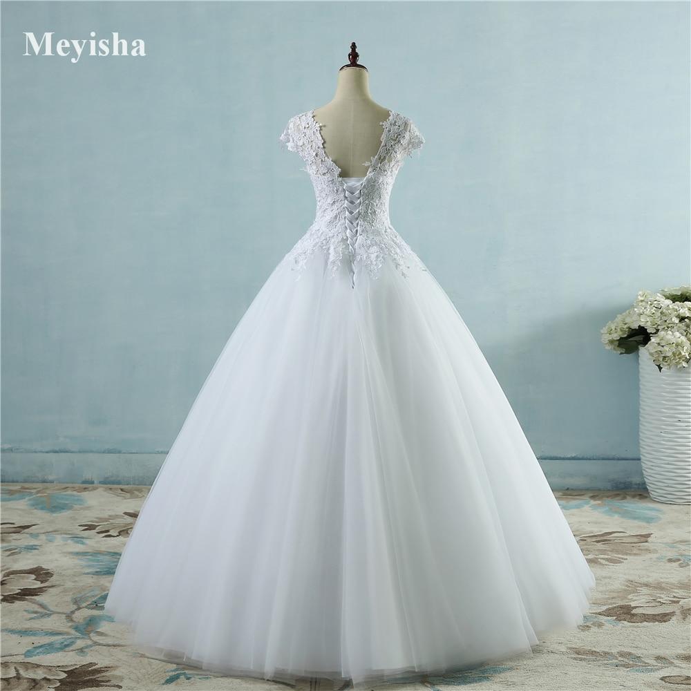 ZJ9085 2016 White Ivory Lace Tulle Wedding Dresses for cap sleeve ...
