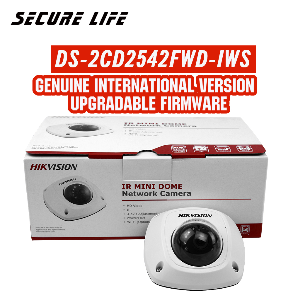In stock Hikvision English version DS-2CD2542FWD-IWS 4MP Mini Dome wifi CCTV ip Camera POE WDR H.264+, P2P, two-way audio in stock english version ds 2cd2142fwd i support h 264 ip66 ik10 poe 4mp wdr fixed dome network camera