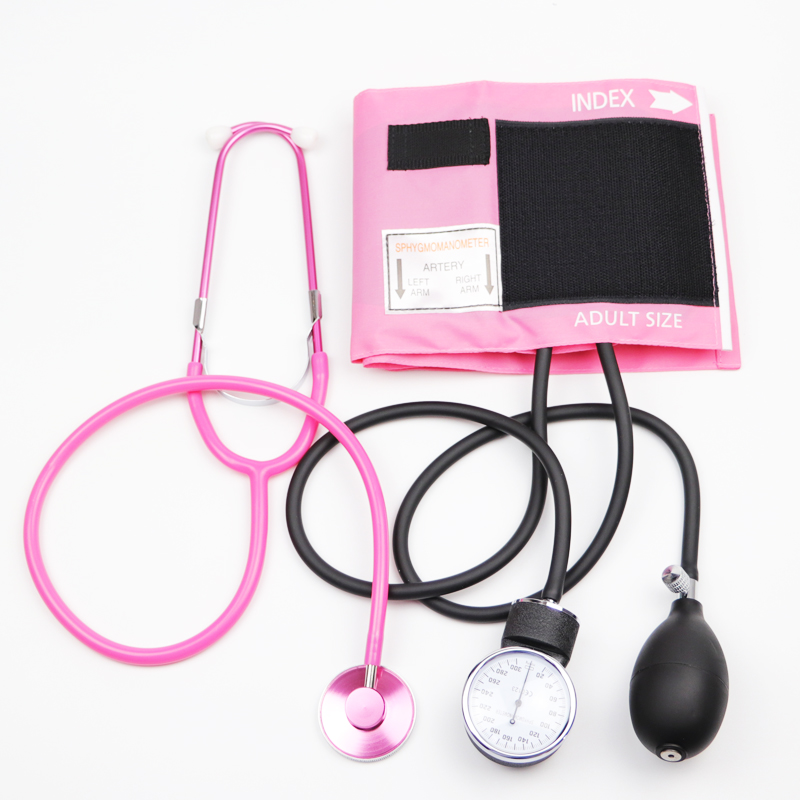 Pink Color Blood Pressure Monitor BP Cuff Stethoscope Arm Aneroid Sphygmomanometer with Pink Single Head Cute Stethoscope-in Blood Pressure from Beauty & Health