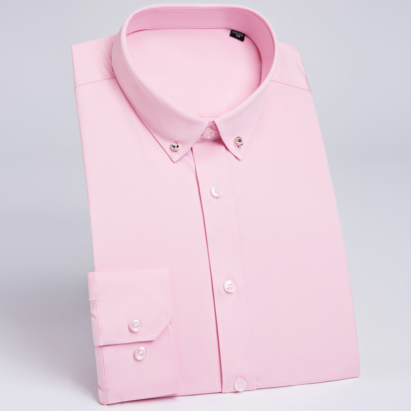 POSHAWN Male Shirt Pink White Casual Men Long Sleeve Slim Fit Dress Shirt Formal Men Blouse Camisa Masculina 2018 Office Shirt