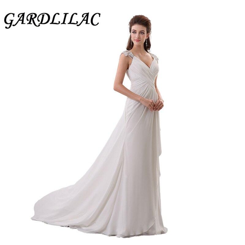 Gaedlilac White Cap Sleeve Beach Wedding Dress V-neck Applique Chiffon Wedding  Gowns Real Photo 85fca712a583