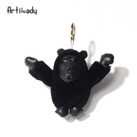New Arrived Soft Chimpanzee Keychain Cartoon Bag Pendant for Women Car Key Ring Fashion Key Holder Jewelry Good Quality