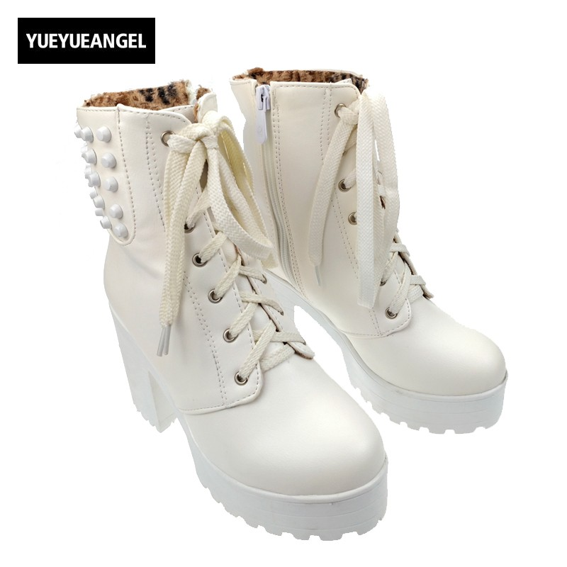 Gothic Fashion Womens Punk Buckle Platform Riding Ankle Boots Thick Heels Lace Up Shoes Cosplay Block