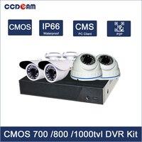 CCDCAM h.264 4ch dvr combo с 2 Крытый 2 Открытый cmos аналоговая камера для видеонаблюдения системы 4ch dvr kit