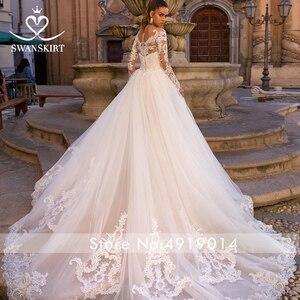 Image 2 - Sexy Mermaid Wedding Dress Detachable Train Swanskirt 2 in 1 Bride Gown Sweetheart Appliques Long Sleeve vestido de noiva LZ06