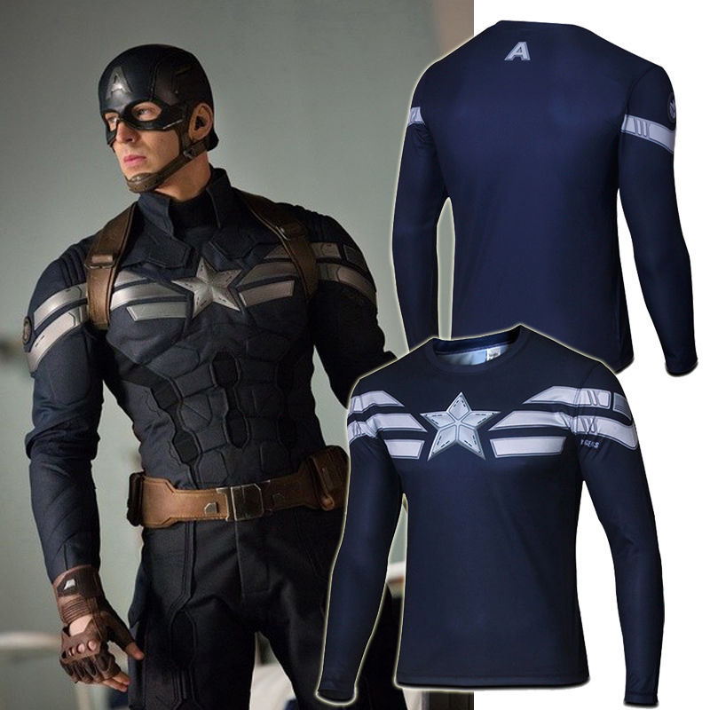New navy blue marvel captain america super hero for Best fitness t shirts