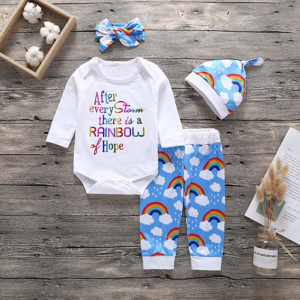 4Pcs/Set Infant Baby Outfit Rainbow Letter Print Romper Pants Beanie Headband