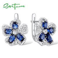 Silver Stud Earrings for Woman Blue Flower Cubic Zirconia Ladies Earrings 925 Sterling Silver Party Fashion Jewelry