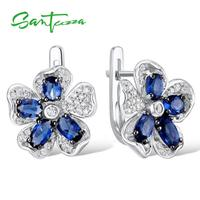 925 Sterling Silver Blue Glass Cubic Zirconia CZ Flower Earrings