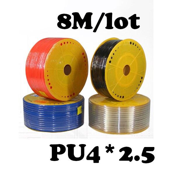 PU4*2.5 8M/lot Free shipping Pneumatic parts 4mm PU Pipe  for air pneumatic hose  4*2.5 Compressor hose pu4 2 5 20m lot free shipping pneumatic parts 4mm pu pipe for air pneumatic hose 4 2 5 compressor hose