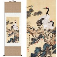 Chinese Silk watercolor birds Longevity Pine Two Hok Crane ink art feng shui canvas wall picture damask framed scroll painting