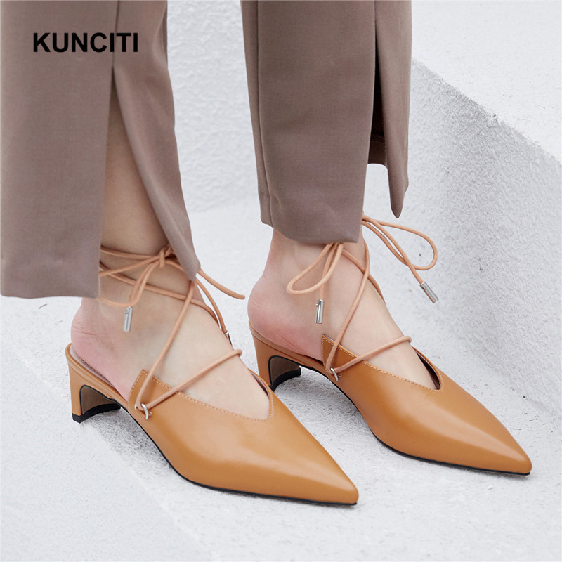 2019 Pointy Toe Women Soft Slippers Lace Up Med Heel Slides Genuine Leather Strange Heel Ladies