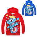 Pony Long Sleeve Hooded Coats for Little Girls Red Blue Cartoon Cotton Autumn T Shirts for Kids Jackets Boys Sweatshirts