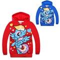 Pony Manga Larga Con Capucha Abrigos para Niñas Rojo Azul Algodón de la Historieta de Otoño Camisetas para Niños Chaquetas Niños Sudaderas