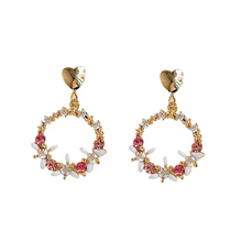 Lady charm earring female fashion beautiful metal texture simple geometry elegant flower earrings women jewelry