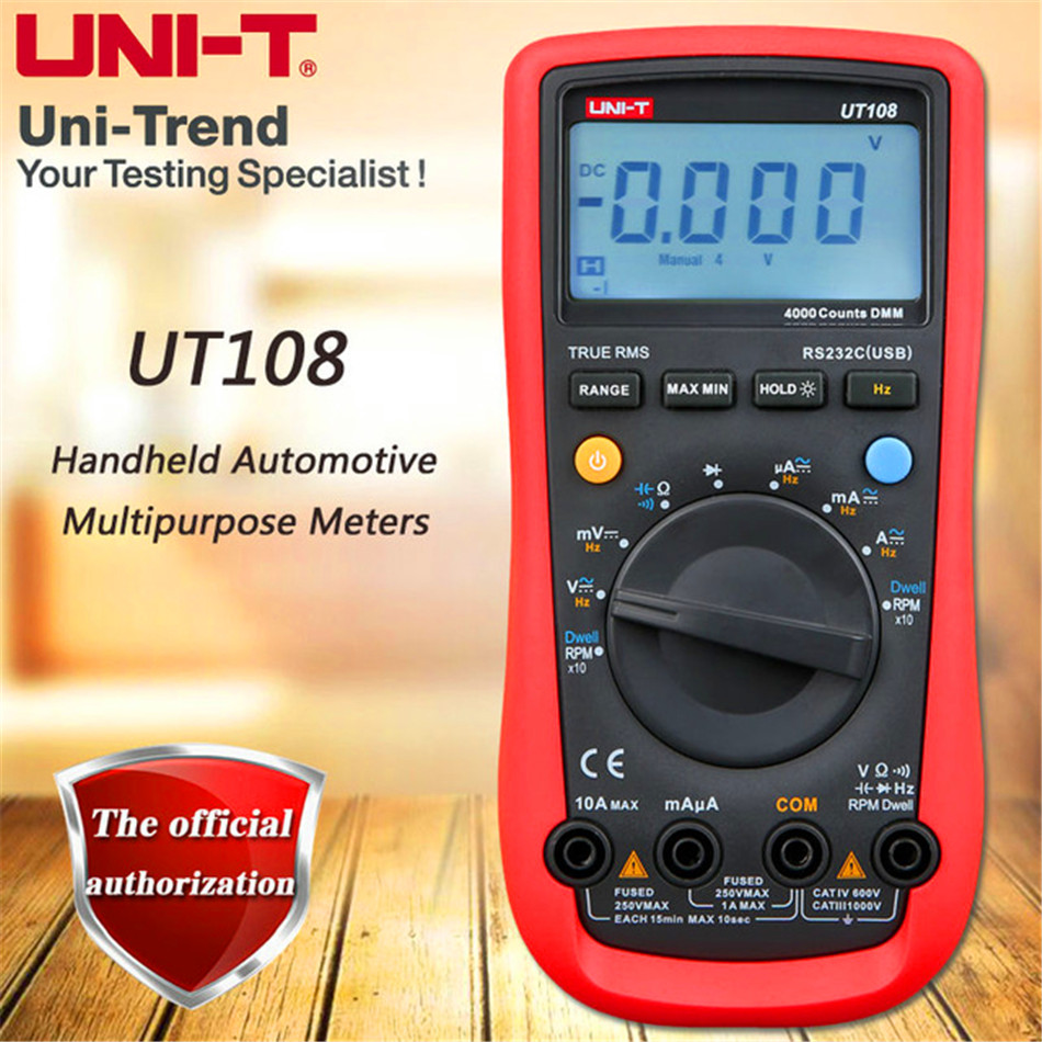 UNI-T UT108 Digital Multimeters Handheld Automotive Multi-Purpose Meters AC DC Volt Amp Ohm Hz Temp Meters 2000 Counts high quality uni t ut210e handheld lcd digital multimeters ac dc