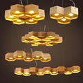 OaK  Wooden Honeycomb Modern Creative Handmade Wood LED Hanging Pendant Lamp Lighting Light fixture home decoration
