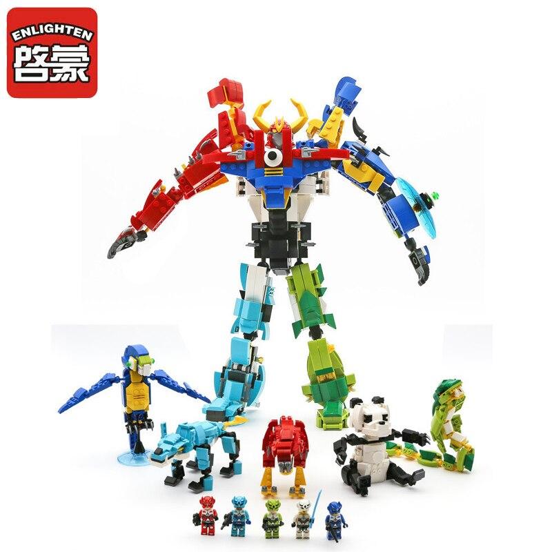 1403 ENLIGHTEN Morphing Robot 5 In 1 Creator Of God War Model Building Blocks Action Figure Toys For Children Compatible Legoe