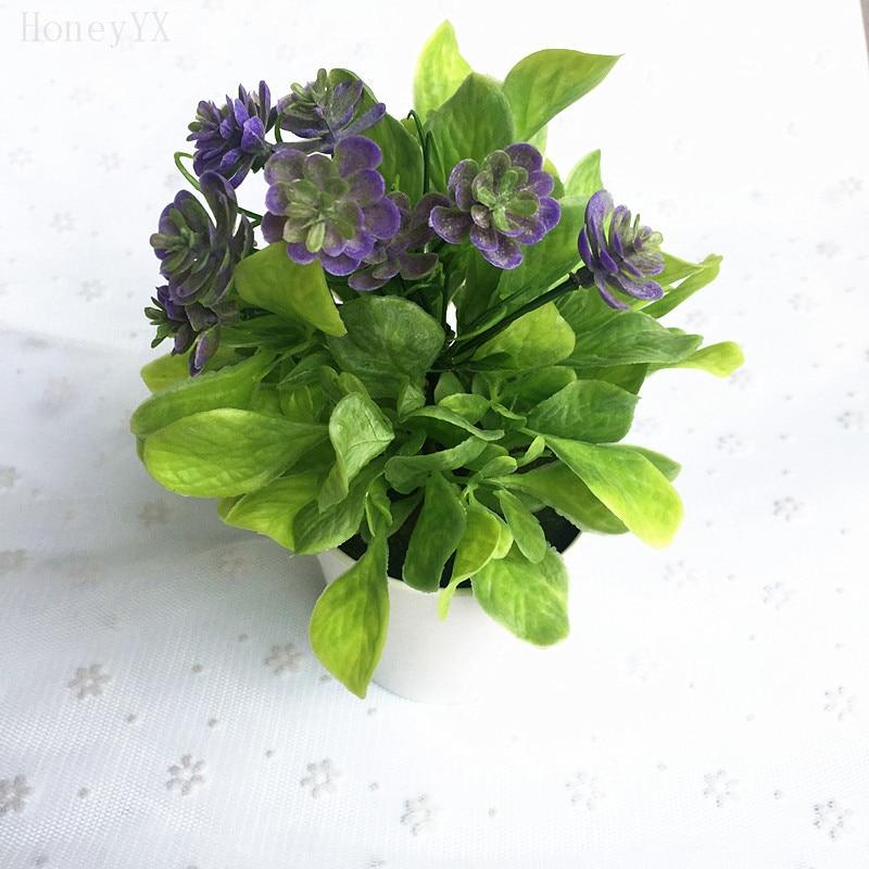 Tanaman Set dengan Pot Bunga Plastik Tanaman Buatan untuk Simulasi Toko  Decor Dekorasi Rumah Hotel di 03df057d31