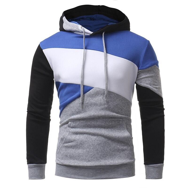 Mens Hoodies 2018 Newest Male Long Sleeve 3D Hoodies Color Patchwork Hoodie Casual Sweatshirt Slim Pullover Hood The Mens Robe