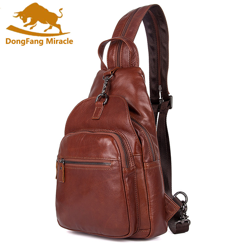 Unisex Backpack New Style Genuine Leather backpack Women Small Bags chest bag Men Vintage Casual travel chest pack rockcow handcrafted vintage style top grain leather backpack travel backpack unisex backpack 8904