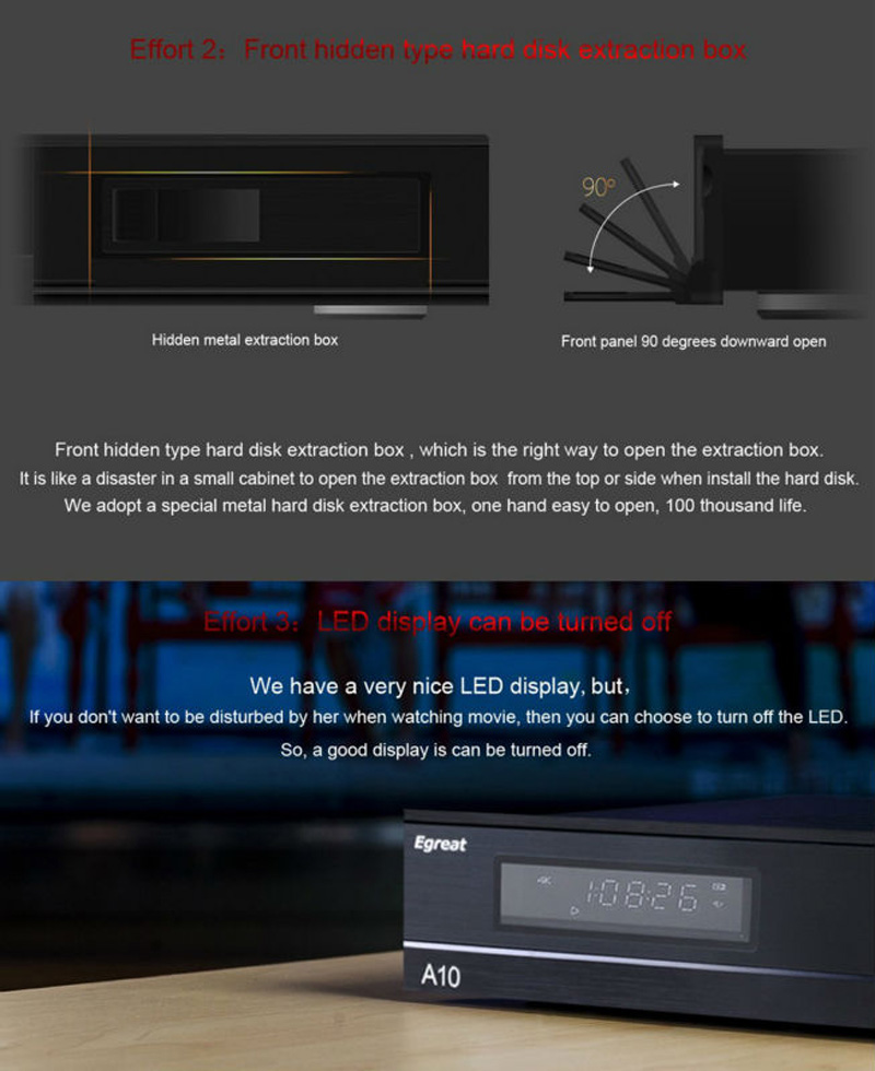 Egreat A10 Ultra HD Media Player 3D 4K Android 5 1 TV Box AC Gigabit LAN  HDR10 3D Blu-ray ISO Dolby DTS VIDON PK Himedia Q10 Pro