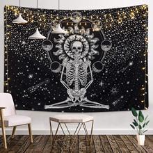 Hippie Mandala Skull Tapestry Wall Hanging Tarot Night Psychedelic Chakra Moon World Map Landscape Carpet Blanket