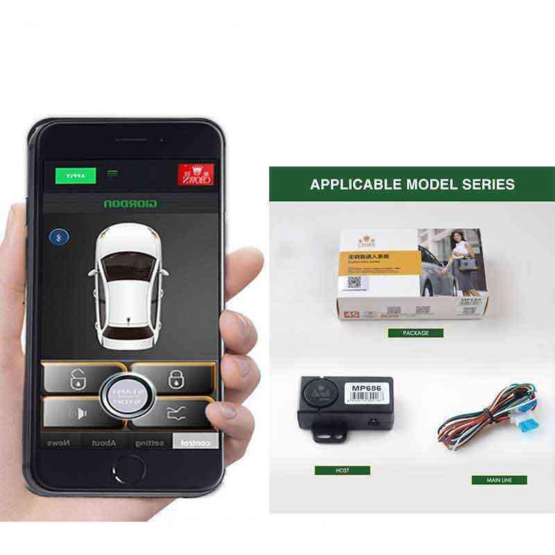 App automático abertura do tronco keyless sensor de entrada para android sistema de segurança do carro automático universal remoto central bloqueio mp686