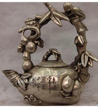Elefante de cobre plateado único hecho a mano 8 DE China, tetera de cobre blanco plateado, tetera para vino