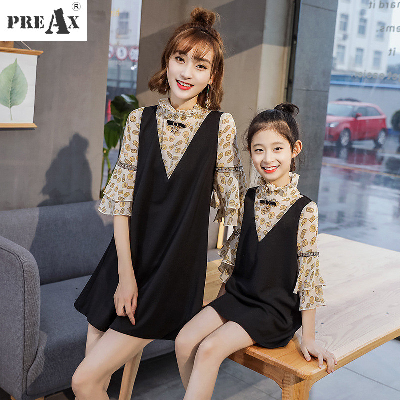 Family Matching Outfits Mother Daughter Dress Kids Dresses Patchwork Fake Two Pieces Chiffon Dress Flare Sleeves Family Clothes
