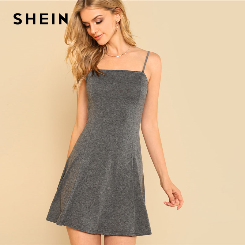 SHEIN Grey Swing Slip Dress Women Spaghetti Strap Sleeveless Plain Dress 2018 Summer Fit And Flare Weekend Casual Short Dress