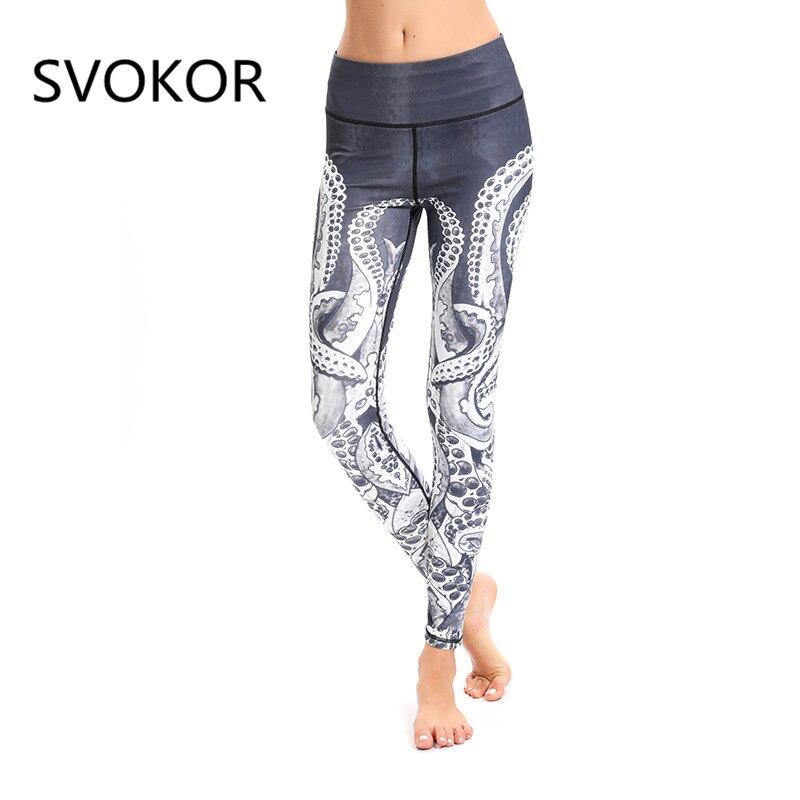 SVOKOR High Waist Print Fitness Legging Women Fashion Casual Sexy Ankle-Length Pants Female Elasticity Push Up Leggings Women
