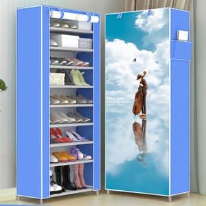 Image 2 - Actionclub moda moderna dez camadas 3d padrão dos desenhos animados sapato armário não tecido pano sapato prateleira espaço saver sapato rack organizador