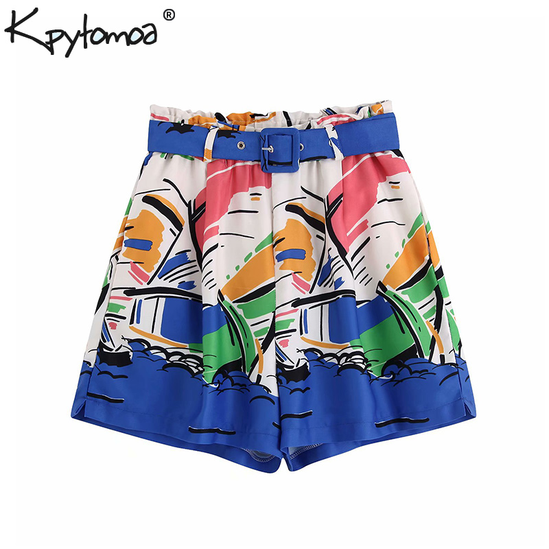Vintage Flowy Print With Belt Short Women 2019 Fashion High Elastic Waist Pockets Ladies Short Pants Casual Pantalones Cortos