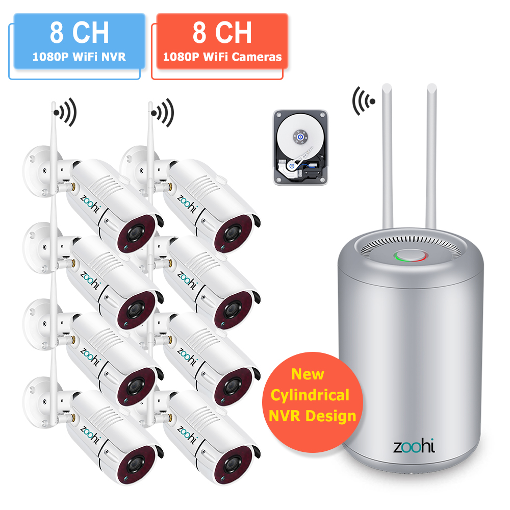 Zoohi Outdoor Wifi Security Camera System Kits 1080P 8CH Waterproof IP66 Night Vision Video Wireless Surveillance Camera KitsSurveillance System   -