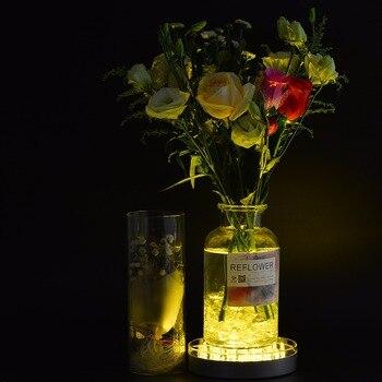 꽃병 자료 led 빛 웨딩 테이블 센터 피스 원격 충전식 led 빛 rgb multicolors 19 pcs smd5050 led