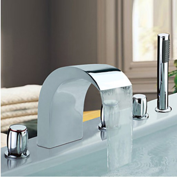Chrome Finish Stainless Steel Widespread Bathtub Faucet Tap Hand Shower