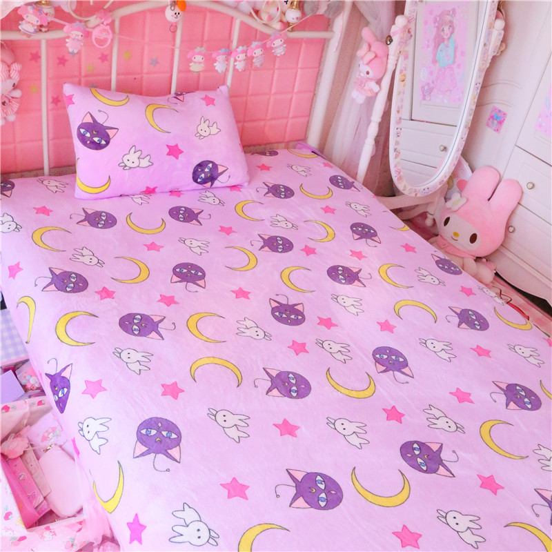 plush toy Sailor Moon luna cat soft air conditioning blanket pillowcase gift 1pc
