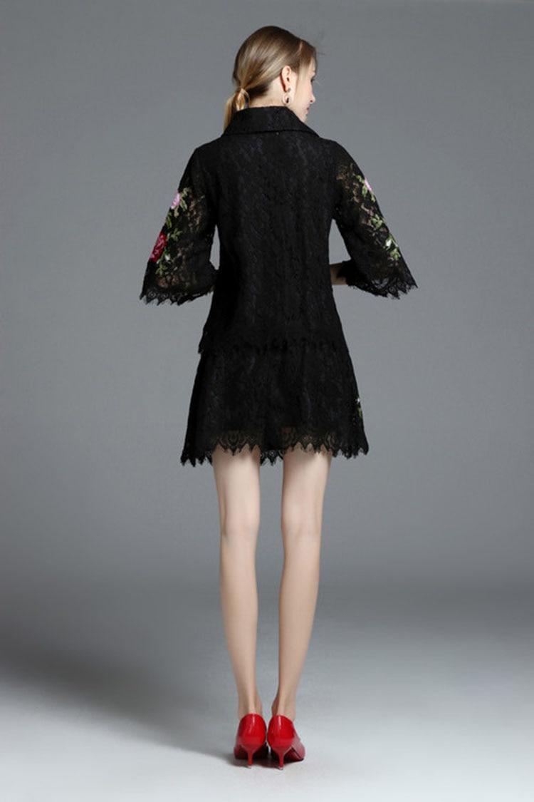 vers Summer Manches Dernière Courte Moitié La Bas Noir 11114 Style Le Tour Robe Flowersembroidery Parfait Mode Dentelle 2017 Femmes Costume wXRxdnBqX